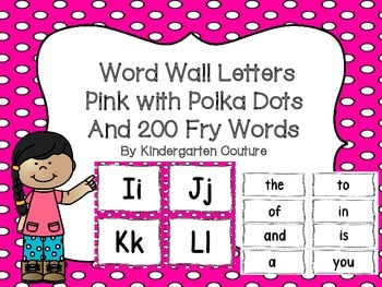"""Word Wall Letters on Bright Pink with Polka Dots and """"200"""""""