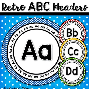 Word Wall Letters (round retro style)