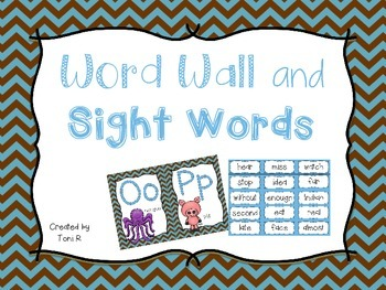 Word Wall Letters with Blue and Brown Chevron  and first 3