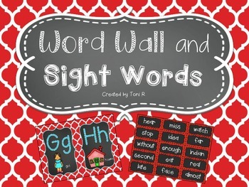 Word Wall Letters with Red Moroccan Background and first 3