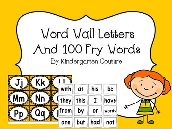 Word Wall Letters (yellow trim) 100 Fry Words