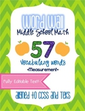 Word Wall - Middle School Math - Measurement EDITABLE