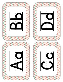 Word Wall Posters (coral and mint chevron)