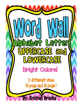 Word Wall Uppercase/Lowercase Alphabet Letters (Bright Colors)
