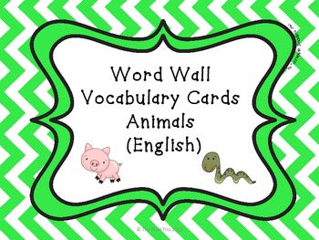 Word Wall Vocabulary Cards-Animals (English)