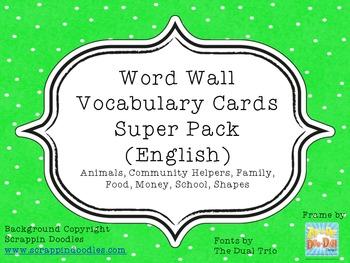 Word Wall Vocabulary Cards Super Pack MANUSCRIPT FONT