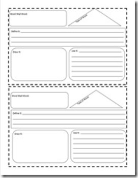 Word Wall Word Booklet Page
