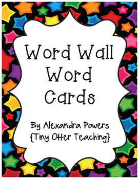 Multicolored Star Themed Word Wall Word Cards