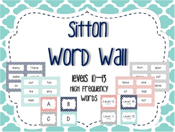 Word Wall/Word Work Cards Levels 10-13 {Sitton High Freque
