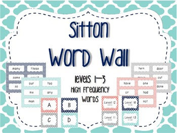 Word Wall/Word Work Cards Levels 1-3 {Sitton High Frequenc