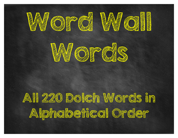 Word Wall Words [Chalkboard Style]