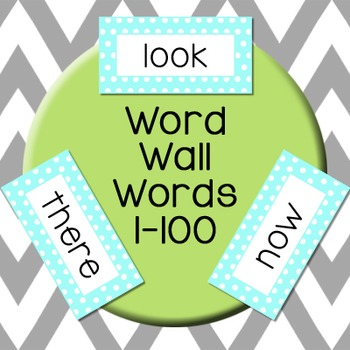 Word Wall Words: First 100 Fry Words - Teal & Green