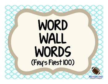 Word Wall Words: Fry's First 100 (baby blue & natural edition)