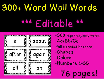 Word Wall Words - High Frequency Words- EDITABLE!! Zebra print