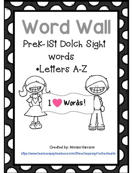 Word Wall Words Prek - First Grade