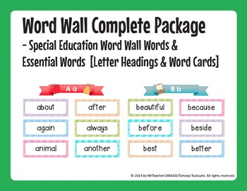 Word Wall Words (Special Education) Package [Headings & Wo