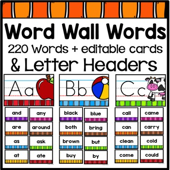 Word Wall Words and Letter Heads