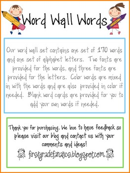 Word Wall Words (high frequency words)
