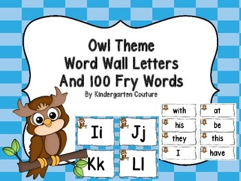 Word Wall and 100 Fry Words - Owl Theme