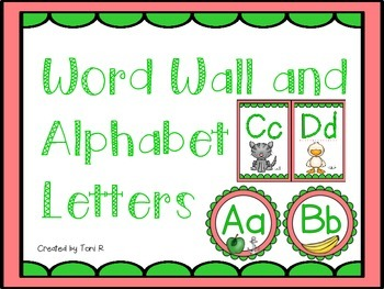 Word Wall and Alphabet Letters with Pink and Green (Waterm