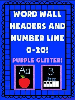 Word Wall and Number Line labels (Purple GLITTER)