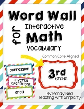 Word Wall for Interactive Math Vocabulary for 3rd Grade