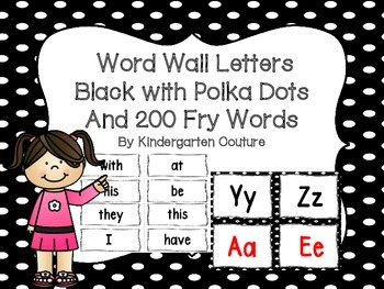 """Word Wall on Black with Polka Dots and """"200"""" Fry Words"""