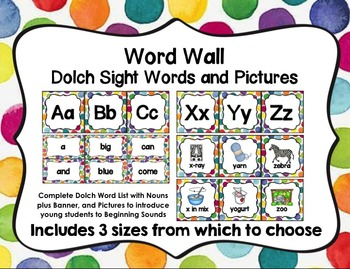 Word Wall with Dolch Sight Words and Picture Cards (Bright