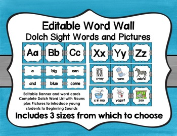 Word Wall with Dolch Sight Words and Picture Cards (blue a