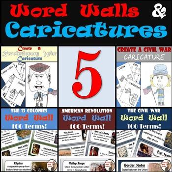Word Walls & Caricatures Bundle - 13 Colonies - American R