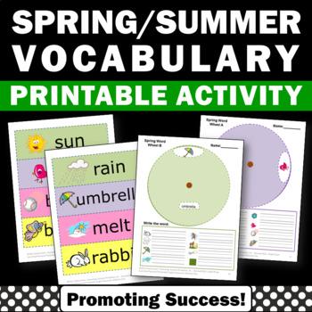 Spring or Summer Vocabulary Interactive Notebook Activitie