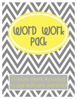 Word Work Activities Pack