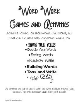 Word Work Activities and Games Bundle