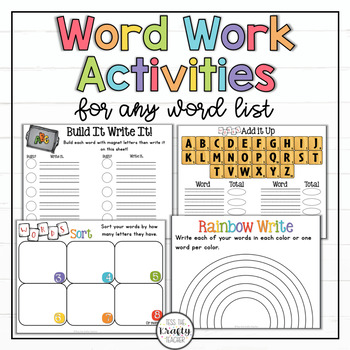 Word Work Activities, Any Word List, Spelling, First, Seco