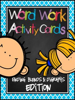 Word Work Activity Cards--200+ ENDING SOUND Blends & Digra