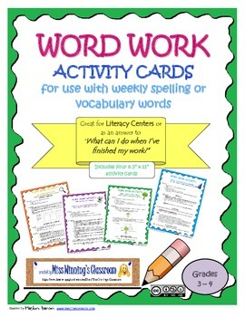 Word Work Activity Cards to use with Weekly Spelling or Vo