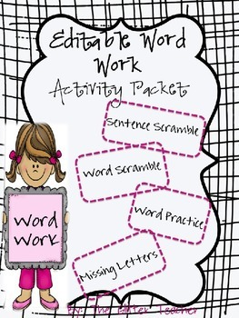 Editable Word Work Activity Packet