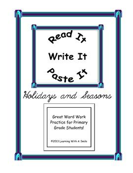 Holidays & Seasons ~ Word Work Activity ~ Read It, Write I