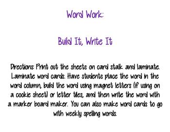 Word Work Build It Write It