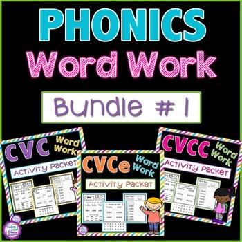 Phonics Word Work: Bundle #1---CVC, CVCe, & CVCC Activitie