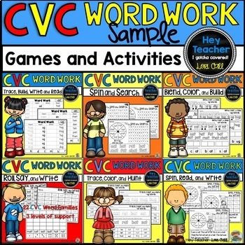 CVC Word Work Activities and Games FREE