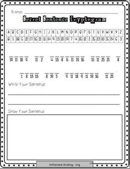 **Word Work Center** Cryptogram Puzzle Worksheets {Program