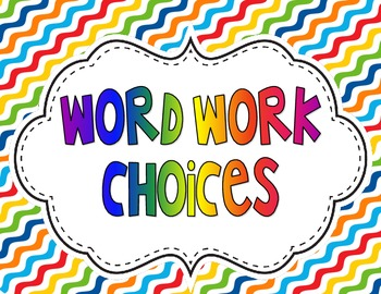 Word Work Choice Posters fo any Spelling List!