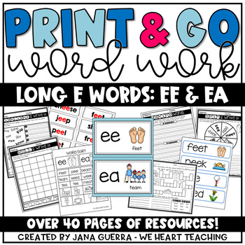 Word Work: Digraphs ee and ea (long e sound)