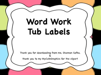 Word Work Labels