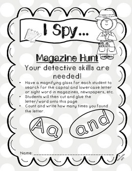 Word Work Letter Word Hunt : I SPY (Kindergarten - aligned