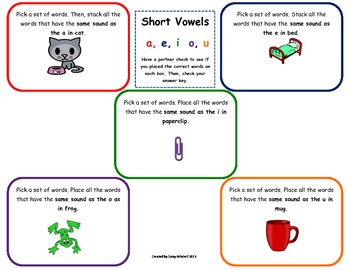 Word Work Daily 5 Hands-on Phonics Mat: Sort Short Vowel S