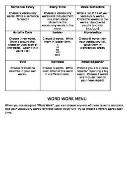 Word Work Menu Level 1