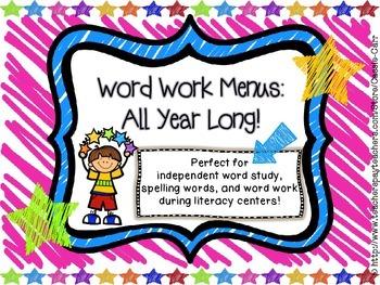Word Work Menus: All Year Long!