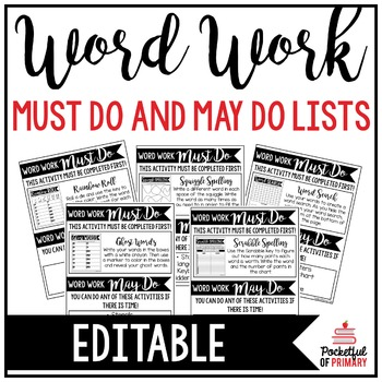 Word Work Must Do and May Do Lists